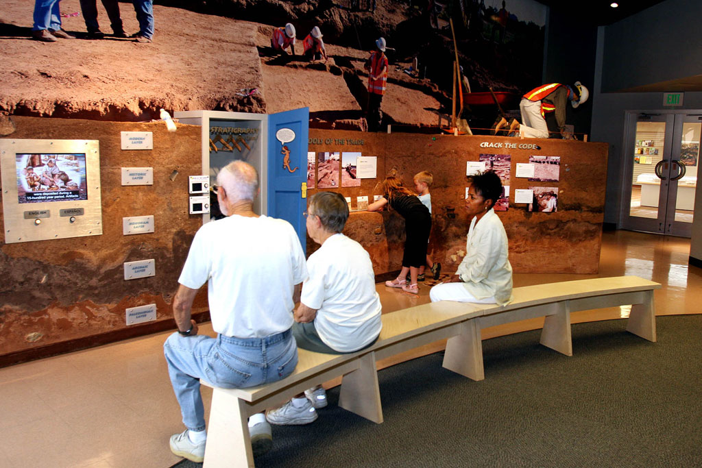 People viewing exhibits at Pueblo Grande
