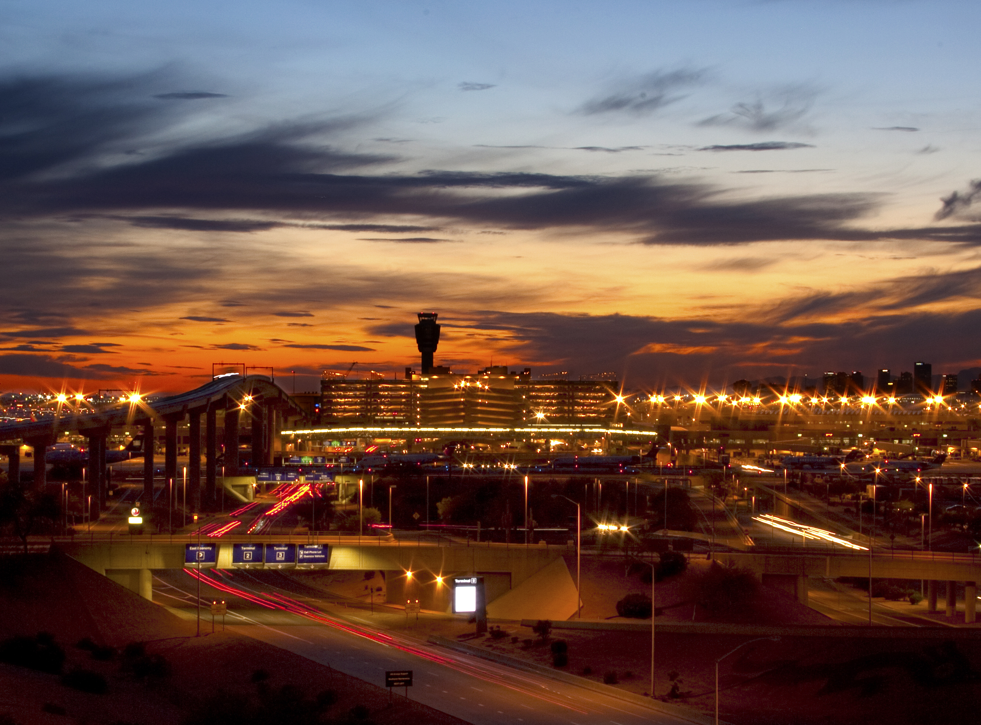 Sky Harbor International Airport at night time.