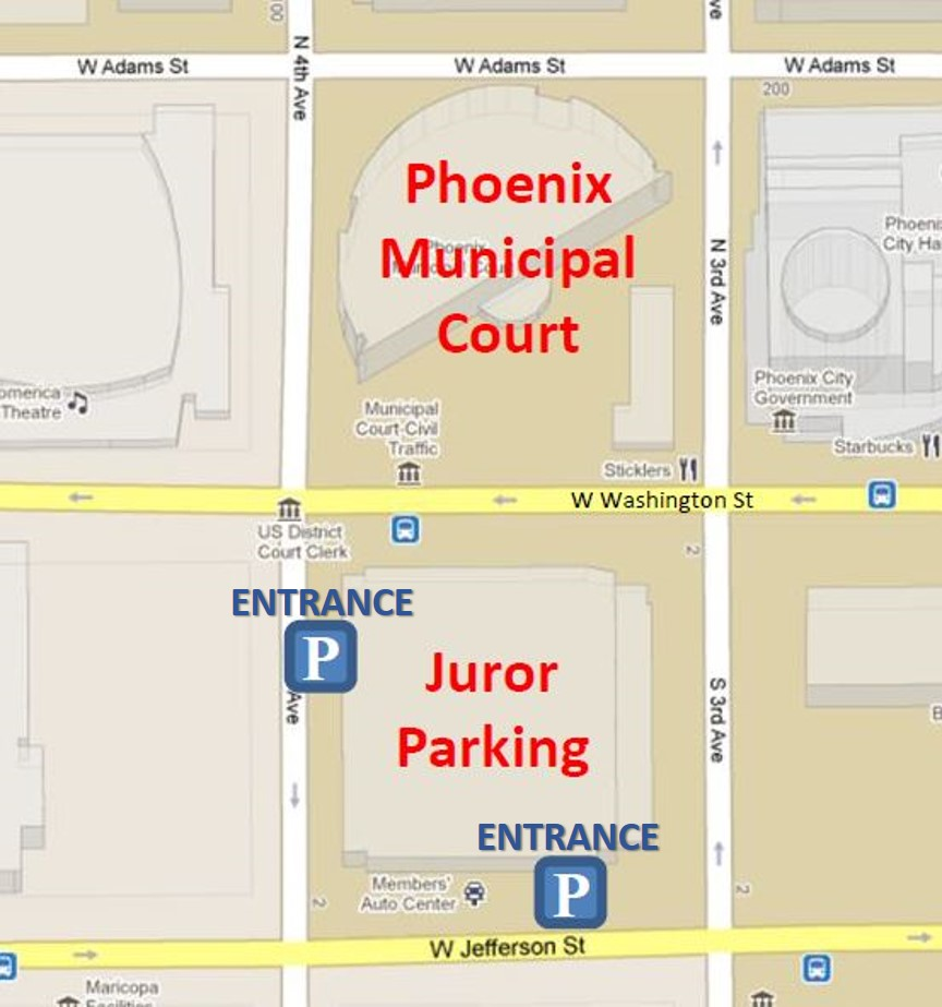Phoenix Municipal Court and Juror Parking Map