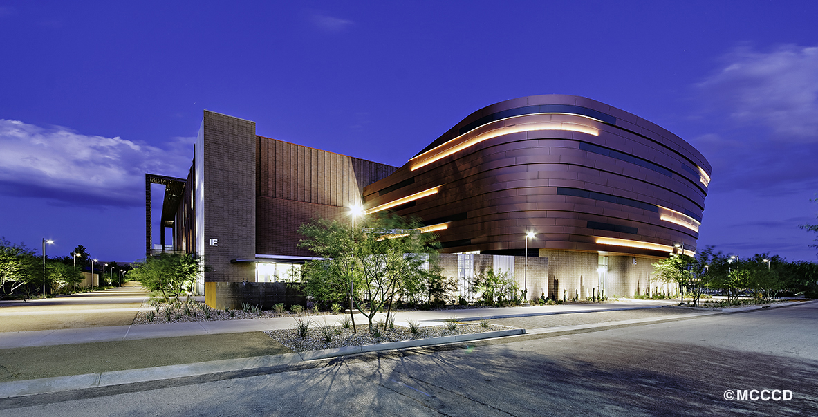 maricopa community college building at night