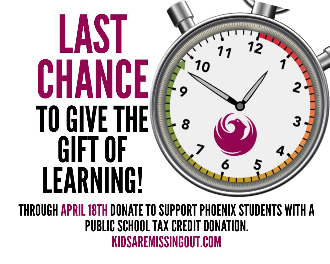 Alarm clock: last chance to give the gift of learning! Through April 18, donate to support phoenix students with a public school