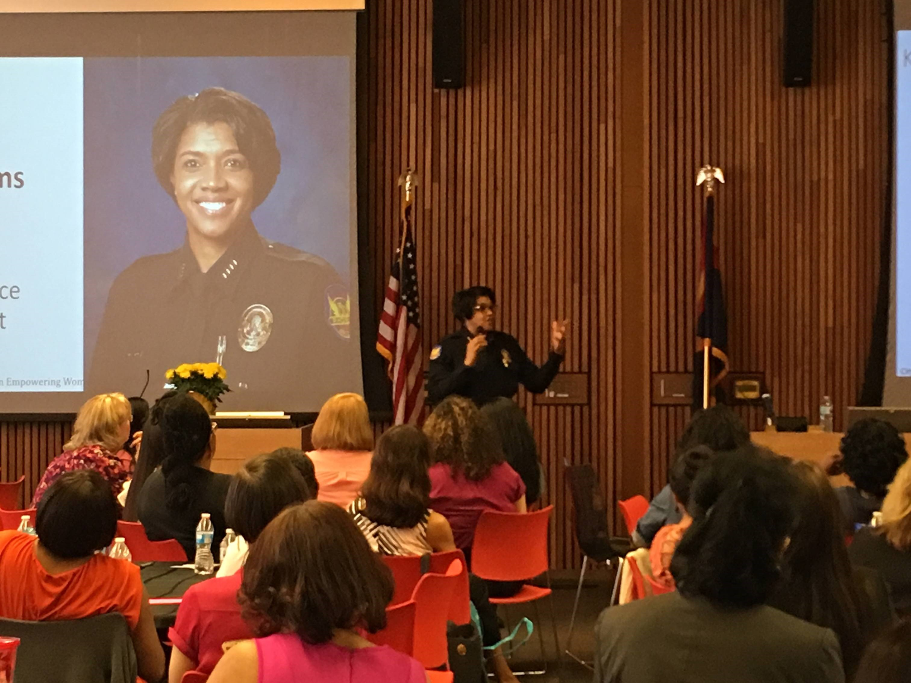 Phoenix Police Chief Jeri Williams speaking to audience