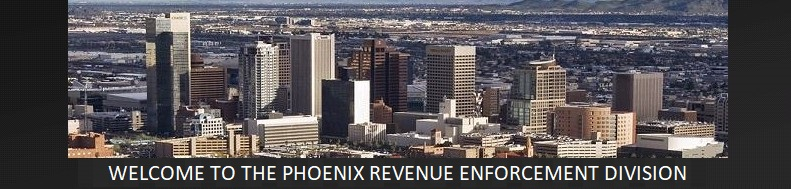 city skyline with words welcome to the phoenix tax division
