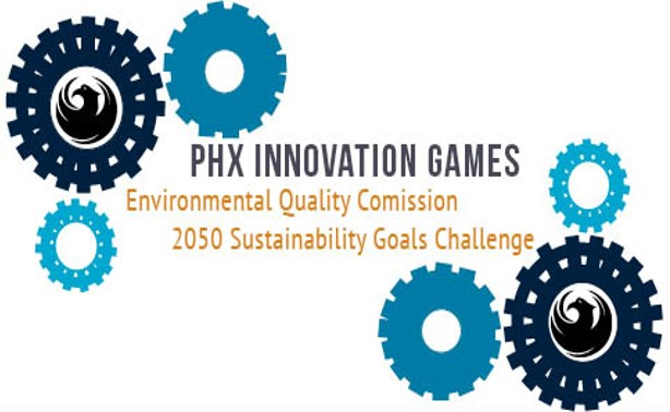 Logo: Phoenix Innovation games, city bird with gears
