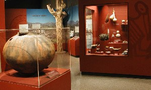 Long term exhibit gallery featuring Hohokam artifacts.