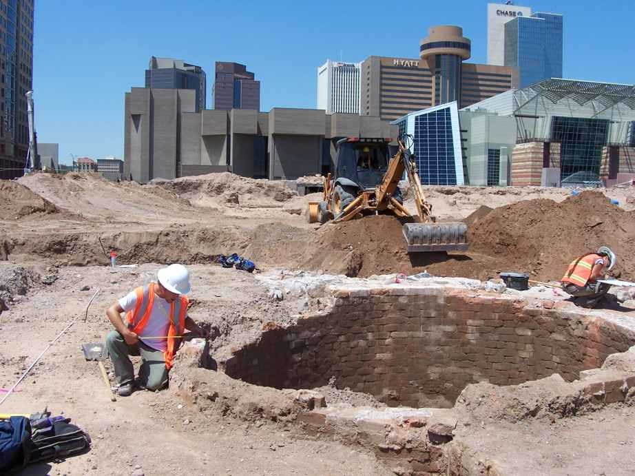 Photograph of archaeological excavation in downtown Phoenix.