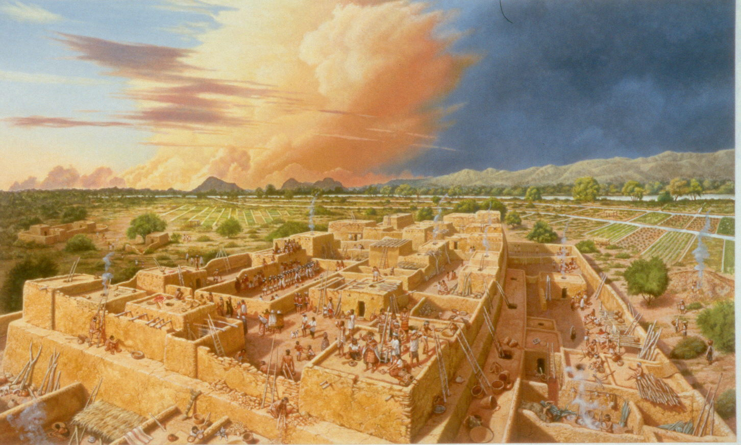 Artists illustration of Hohokam settlement