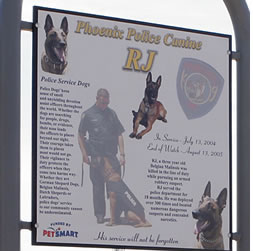 RJ Dog Park Memorial sign