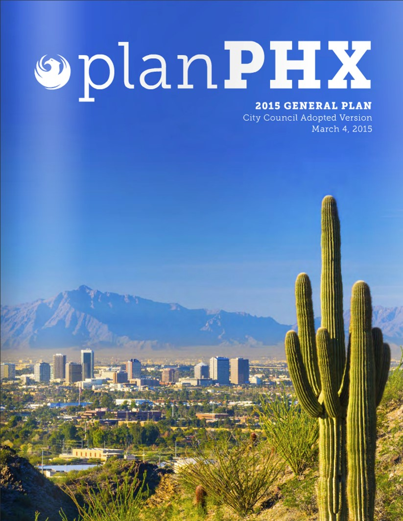 Plan PHX cover showing saguaro cactus and Phoenix skyline