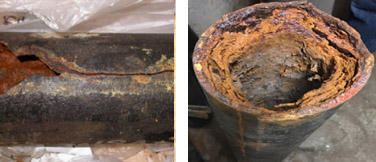 Bathroom sanitary pipe (Left). Corrosion on riser (Right)