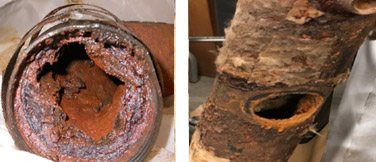 Clogged grease waste pipe (Left). Failed air handler (Right).