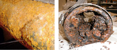 Corroded and rusty, leaky pipe (Left). Clogged waste pipe (Right)