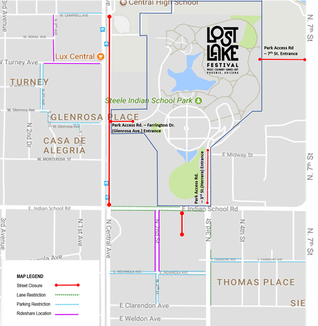 Map of roads closed and restricted due to the Lost Lake Festival. (Source: City of Phoenix, phoenix.gov)