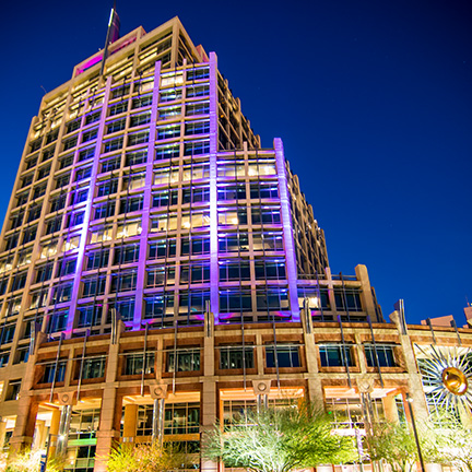 Phoenix City Hall illuminated during Paint Phoenix Purple