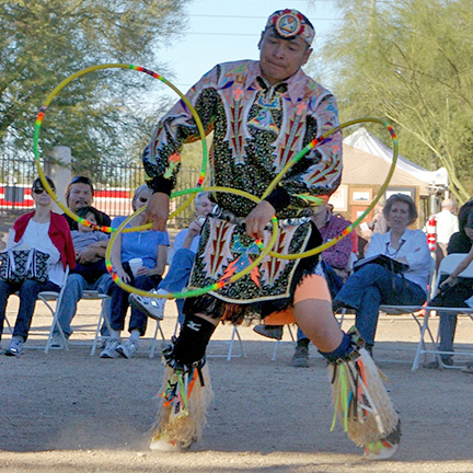 A Hoop Dancer performs at Pueblo Grande Museum