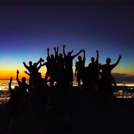 Hikers cheer on top of Piestewa Peak