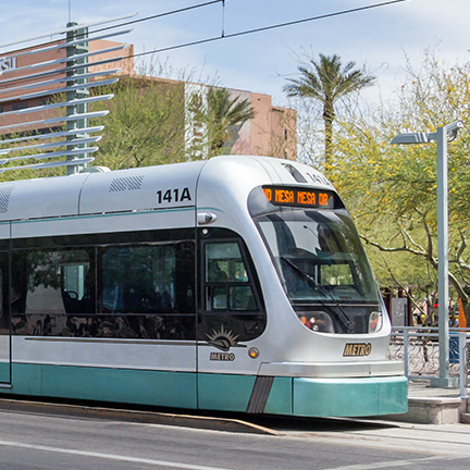 A Light Rail Station near downtown ASU