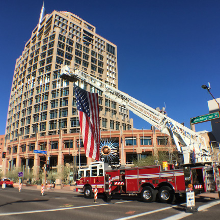 Flag flown from Phoenix fire truck at annual employee memorial