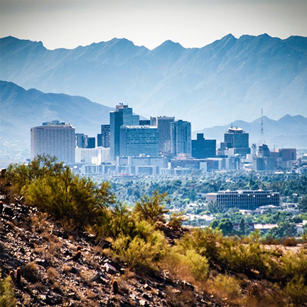 Downtown Phoenix as seen from Piestewa Peak