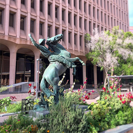 Copper sculpture near City of Phoenix Calvin Goode building