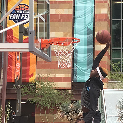 Shooting hoops at Final Four Fan