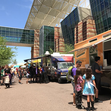 Food trucks at the Convention Center for 2017 Comic Fest