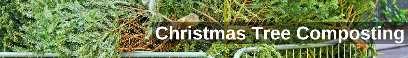Christmas tree and wreath recycling banner