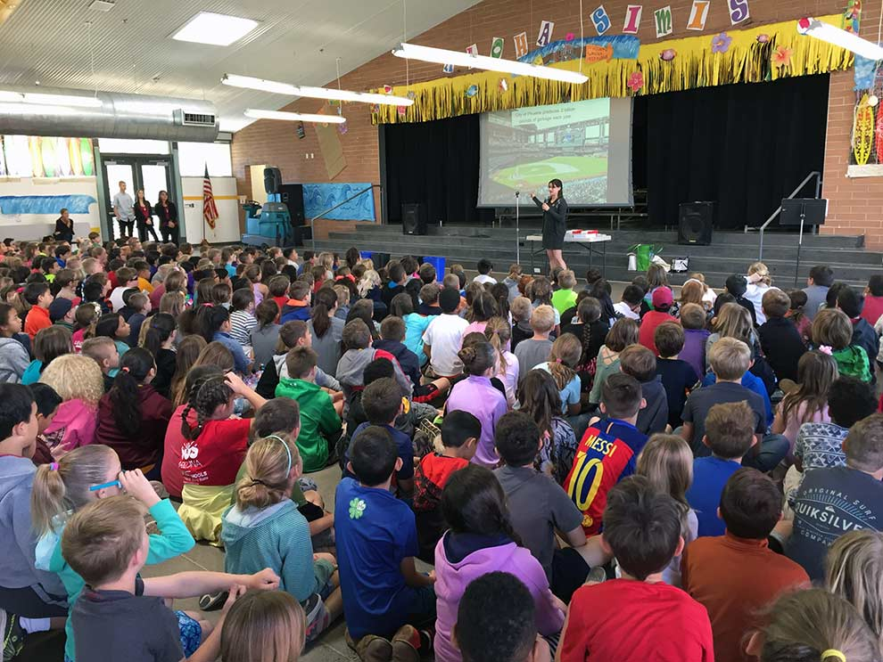 Zero waste team presenting at a school assembly
