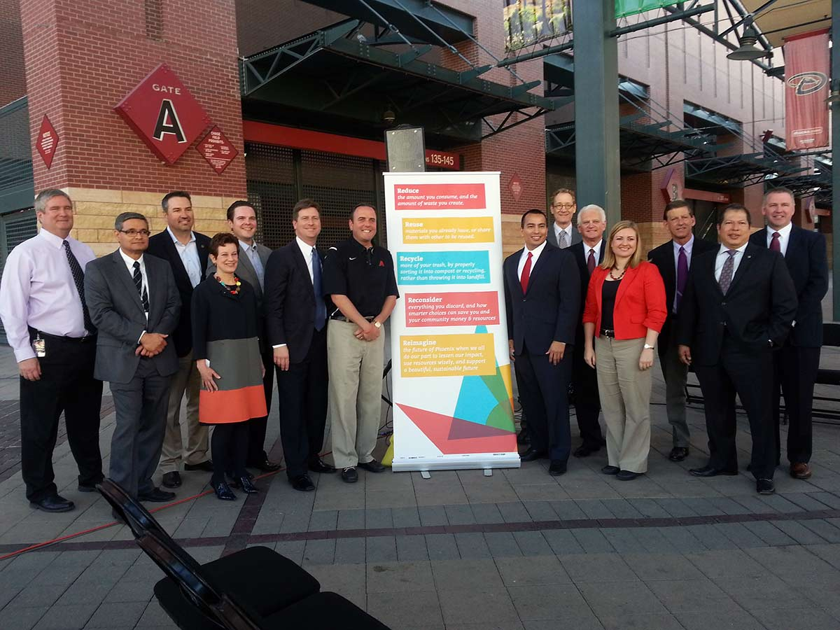 Group photo outside Arizona Diamondbacks ballpark