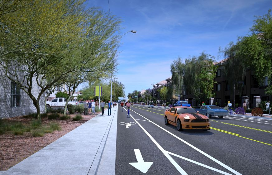 Street scene depicting bike lane markings