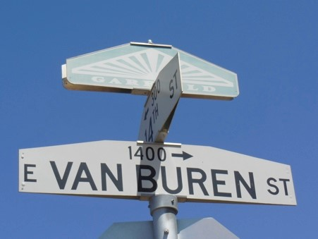 Street sign for east Van Buren Street