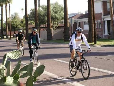 Bicyclists on city street