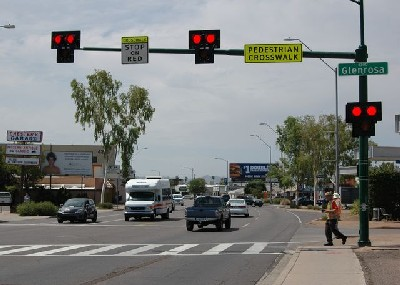 Traffic signals at crosswalk