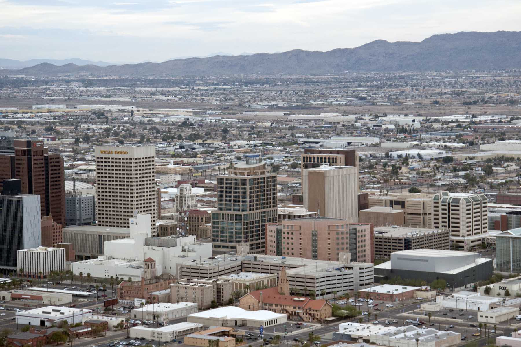 Aerial image of Phoenix from downtown