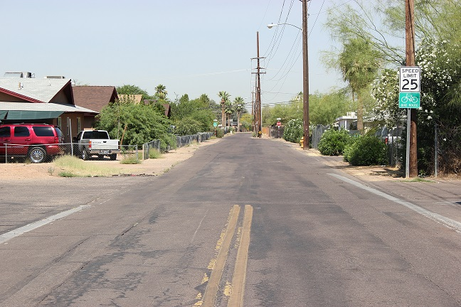 Phoenix street with faded paint markings