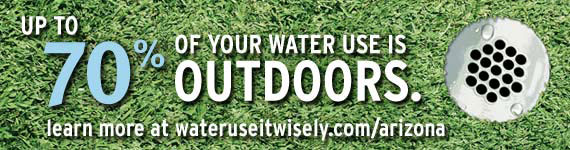 Water Wisely banner: Up to 70 percent of your water use is outdoors. Learn more at wateruseitwisely.com/arizona