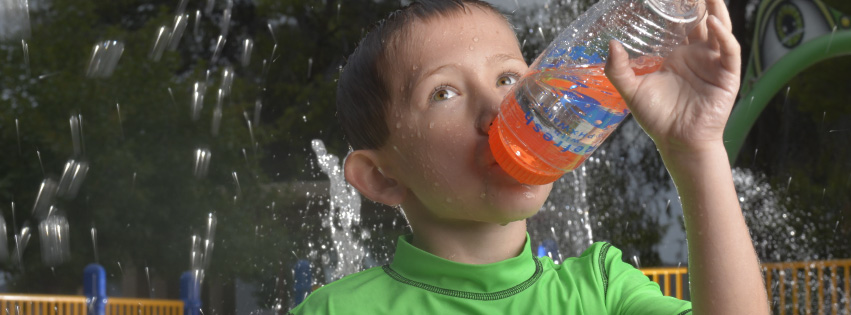 WaterSmart banner: Boy driking water